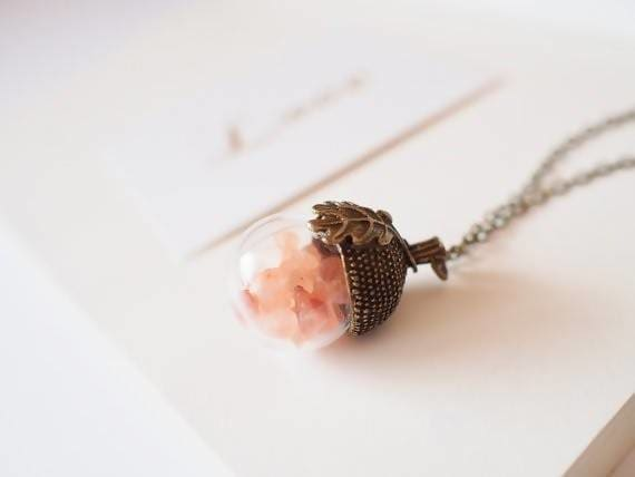 Necklaces Rose Gold Himalayan Salt Acorn Necklace - by StylishNature