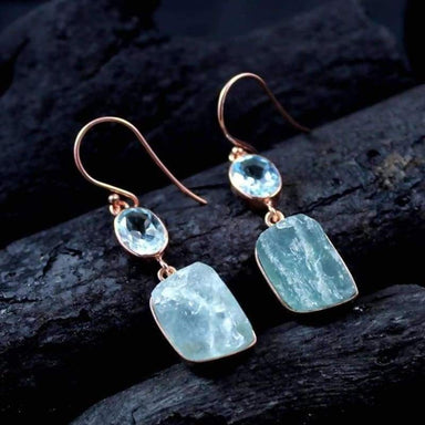 Rose Gold Plated Earring with Aquamarine and Blue Topaz Gemstones - Earrings