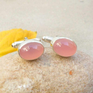 Jewelry Rose Quartz Cufflinks Gemstone cuff links Sterling Silver Oval Cufflink Pink Wedding Gift for him Birthday Gifts cufflink Handmade