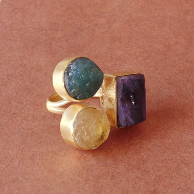 Rough Amethyst Citrine And Apatite Multi Stone Finger Ring In 18K Gold Plated - by Bhagat Jewels