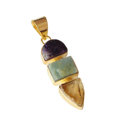 Rough Amethyst Citrine And Aquamarine Gemstone Statement Pendant - by Bhagat Jewels