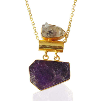 Rough Amethyst And Herkimer Diamond healing Stone Chain Pendant
