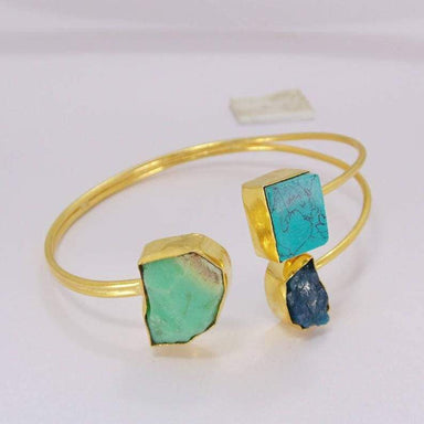 Rough Apatite Turquoise And Chrysoprase Gemstone Adjustable Cuff Bangle