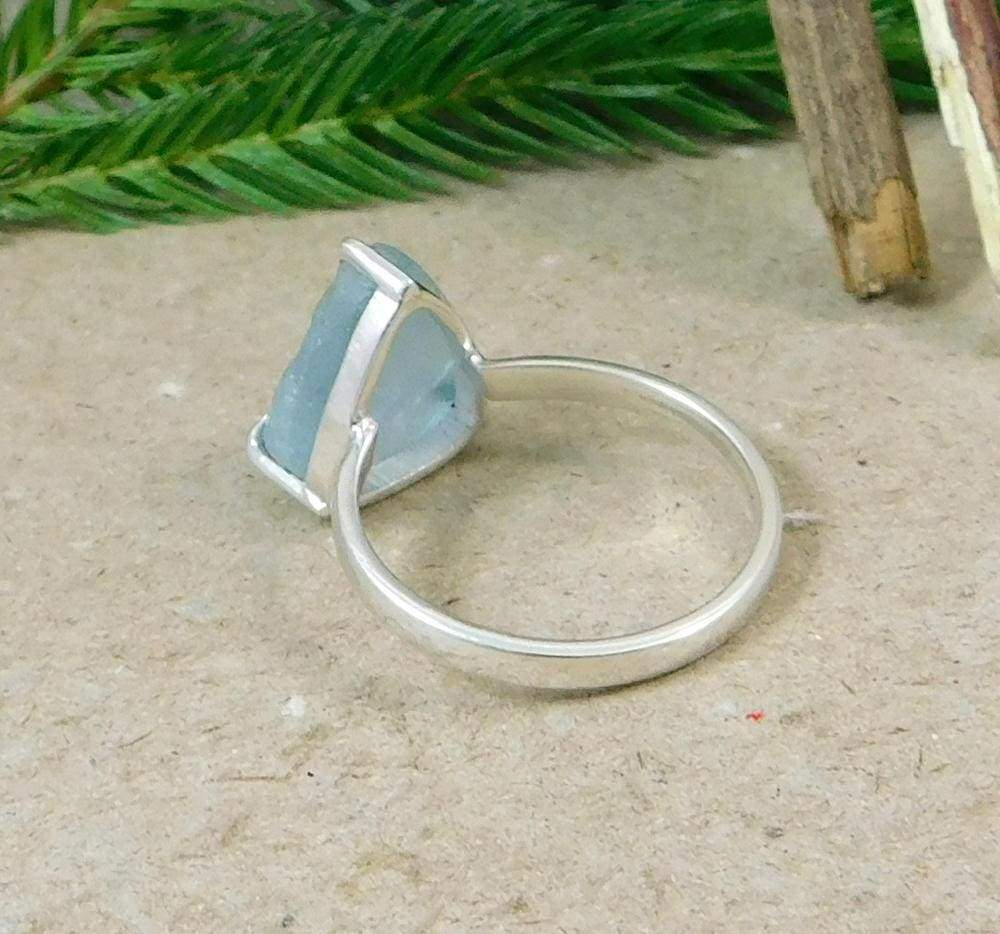 Rings rough aquamarine ring sterling silver three prong setting