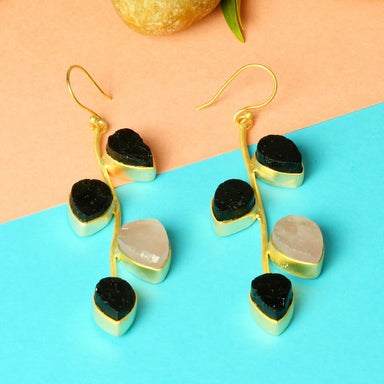 Rough Black Tourmaline And Rose Quartz Gemstone Leaf Design Dangle Earrings - by Bhagat Jewels