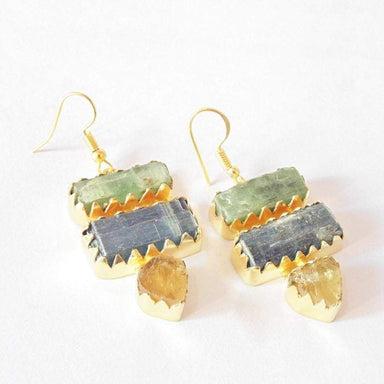 Rough Citrine And Blue Kyanite Gemstone Delicate Hook Earrings