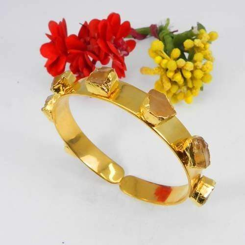 Bracelets Rough Citrine Gemstone Gold Plated Adjustable Cuff Bracelet
