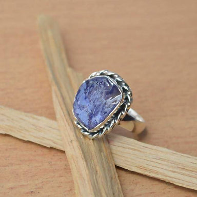 Rings Rough Row Tanzanite Ring Violet Blue Semi Precious Gemstone Bezel Solid 925 Sterling Silver Jewelry All Sizes Available.