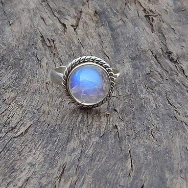 Round Blue Fire Rainbow Moonstone 925 Sterling silver Ring 22K Yellow Gold Filled Rose