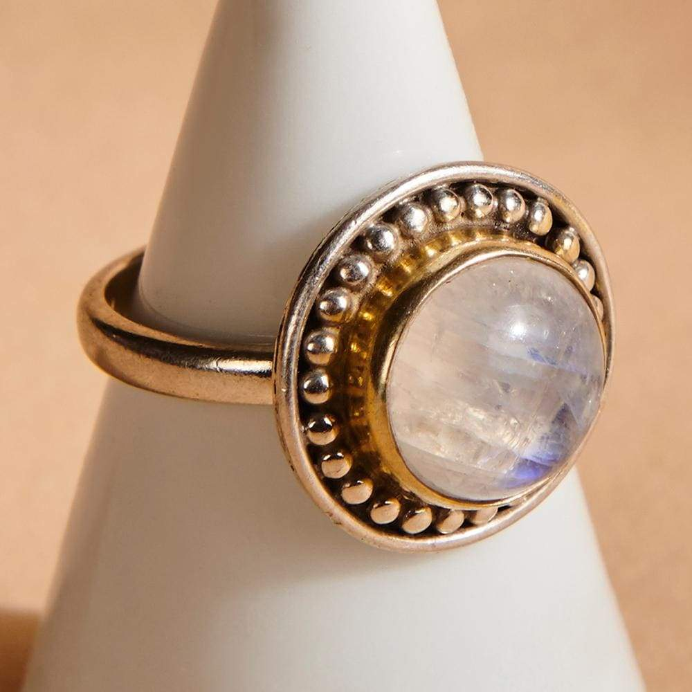 Rings Round Blue Fire Rainbow Moonstone 925 Sterling Silver Yellow Gold Two-tone Ring Handmade in India Gift Jewelry Gemstone - by Subham