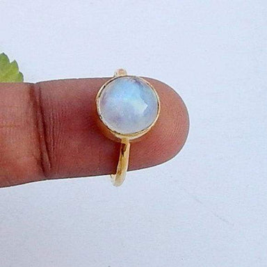 Round Cab Blue Rainbow Moonstone 925 Sterling silver Ring 22K Yellow Gold Filled Rose