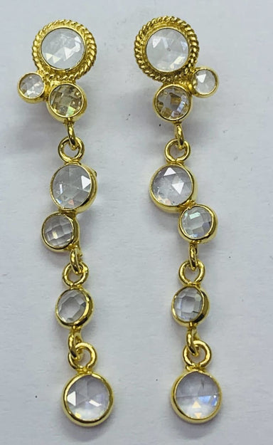 Earrings Round Crystal Polki Stud Earring Sterling Silver Gold Plated - by TJ GEMS