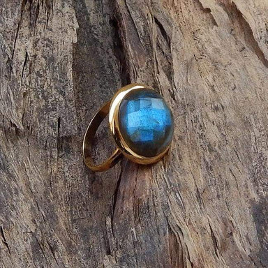 Round Faceted Blue Labradorite Sterling Silver Ring 22K Yellow Gold Filled Rose Jewelry