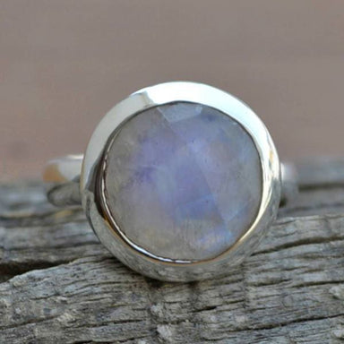 Rings Round Faceted Rainbow Moonstone Gemstone 925 Sterling Silver Ring