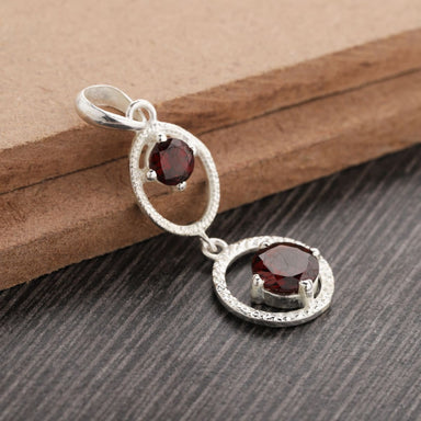 Pendants Round Garnet Pendant 925 Sterling Silver January Birthstone,Friendship Designer Pendant,Anniversary Pendant,Valentines - by