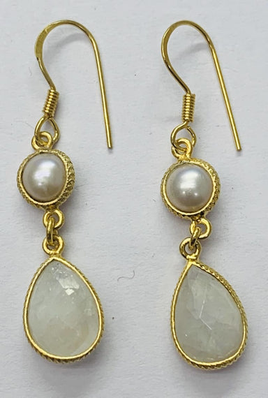 Earrings Round Pearl+Pear Rainbow Stone Earring Sterling Silver Gold Plated - by TJ GEMS