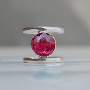 Round Rubellite Pink Tourmaline Gemstone 925 Sterling silver Ring 22K Yellow Gold Filled Rose