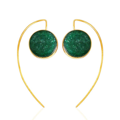 Round Shape Dark Green Aventurine Gemstone Hoop Earrings - by Bhagat Jewels