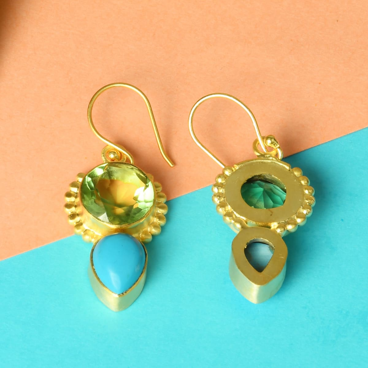 Round Shape Green Amethyst And Turquoise Gemstone Friendship Dangle Earrings - by Bhagat Jewels