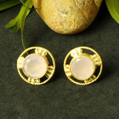 Round Shape Natural Rose Quartz Gemstone Matte Gold Plated Women Post Studs Earrings - by Bhagat Jewels
