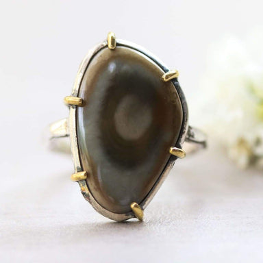 Royal imperial jasper ring in silver bezel and brass prongs setting with sterling hammer texture band - by Metal Studio Jewelry