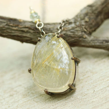 Rutilated quartz drop pendant necklace with silver and brass setting oxidized chain - by Metal Studio Jewelry