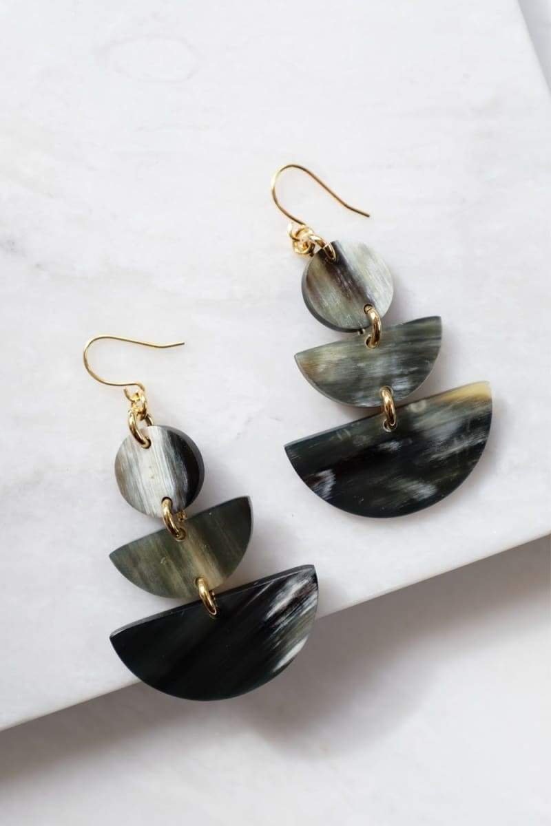 Saigon 16K Gold Plated Geometric Statement Buffalo Horn Earrings - Handcrafted & Unique Buffalo Horn Jewelry