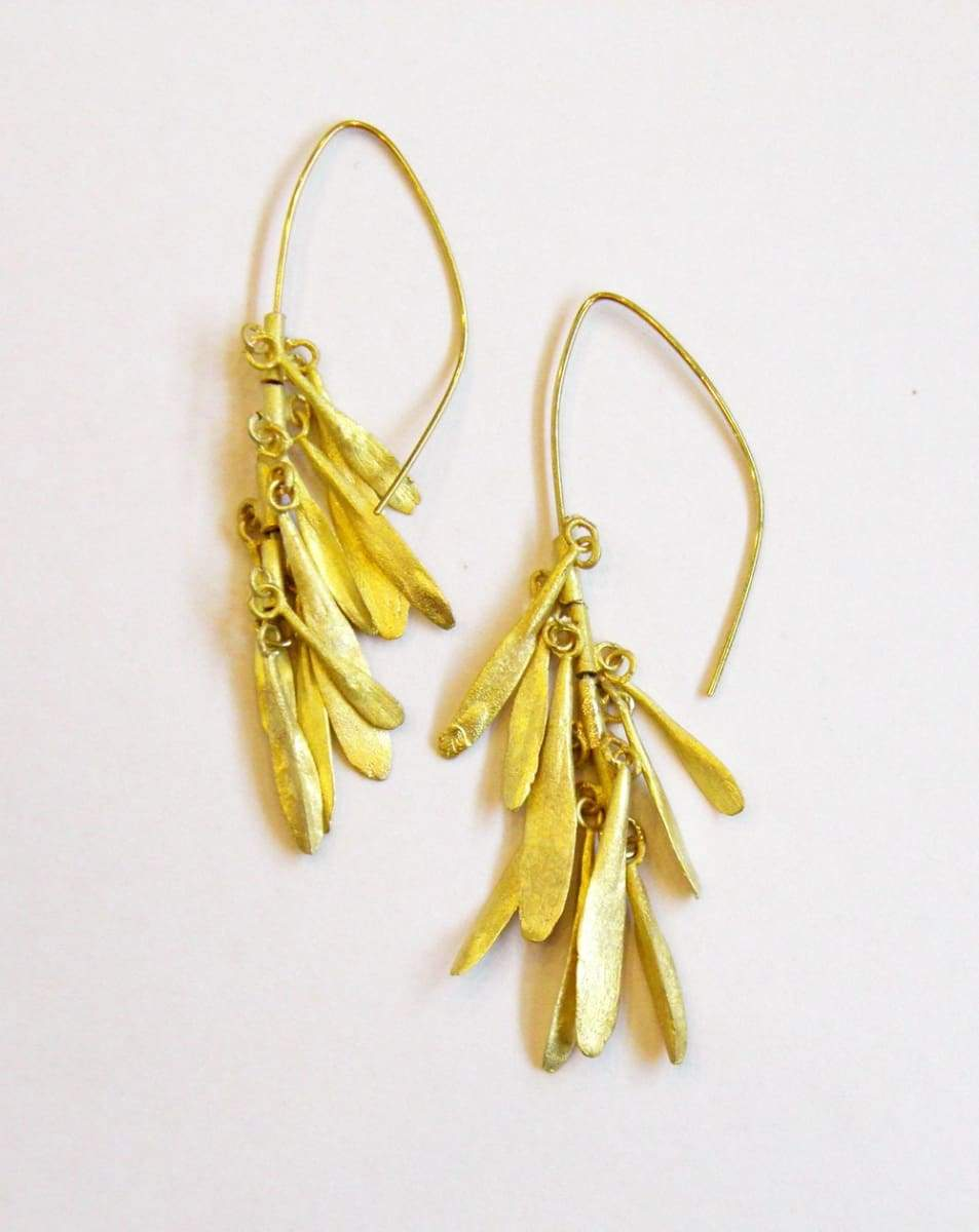 Earrings seed dangle earrings gold brass handcrafted jewelry one of a kind christmas gift little leafs mobil nature organic