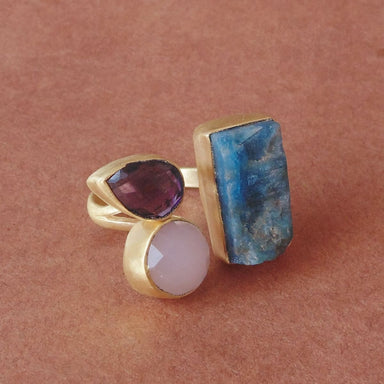 Best Selling Raw Apatite Amethyst And Rose Quartz Stone Cocktail Ring - by Bhagat Jewels