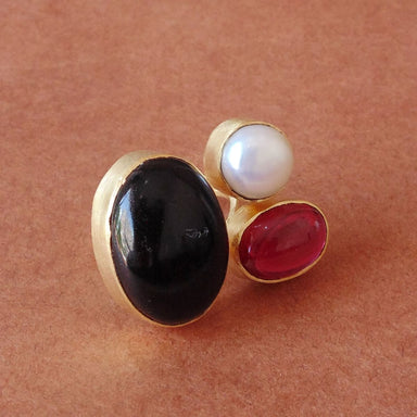 Semi Precious Black Onyx Pearl And Pink Hydro Quartz Gemstone Statement Ring - by Bhagat Jewels