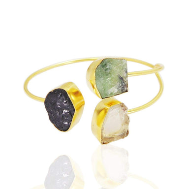 Semi Precious Black Tourmaline Crystal Quartz And Prehnite Gemstone Bangle