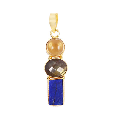 Semi Precious Lapis Lazuli Citrine And Labradorite Gemstone Birthday Gift Pendant