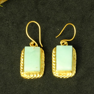 Semi Precious Natural Larimar Gemstone Gold Plated Bridal Drop Earrings - by Bhagat Jewels