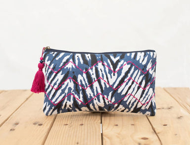 Pouches Shibori pouch indigo clutch zipper purse make up or cosmetic bag utility bohemian - by VLiving