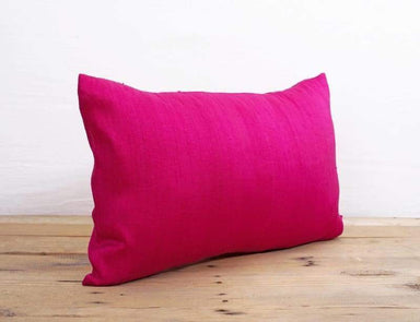 Silk pillow Bright pink color lumbar pillowcover size 12X20 other sizes available - Pillows & Cushions