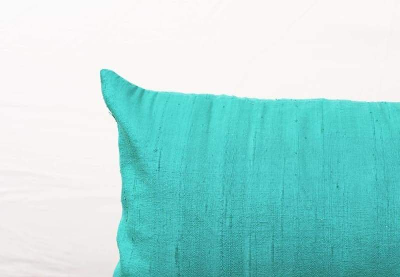Silk pillow turquoise color lumbar pillowcover size 12X20 other sizes available - Pillows & Cushions