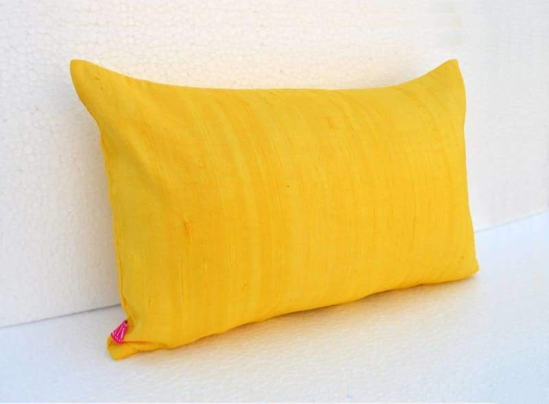 Silk pillow yellow color lumbar pillowcover size 12X20 other sizes available - Pillows & Cushions