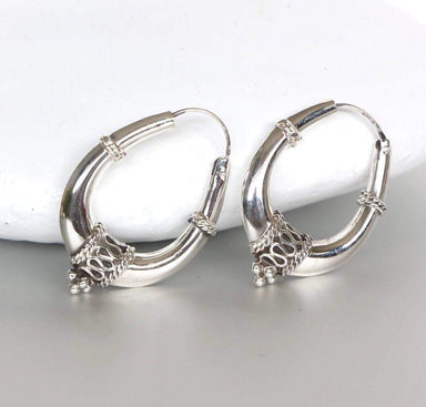 Earrings Silver Bali Ear Hoops 25mm Sterling Piercing Tribal,Gift Hoops,(E140)