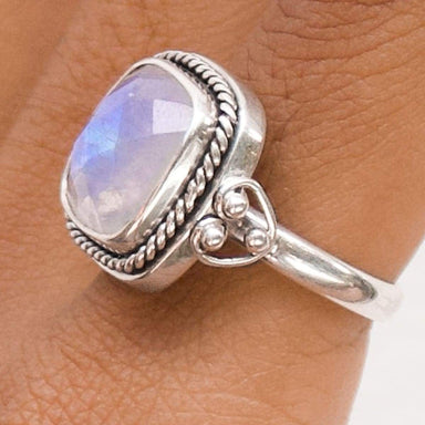 Rings Silver Boho Moonstone Ring June Birthstone Chic for Her Handmade Jewelry Gift - by Aurolius