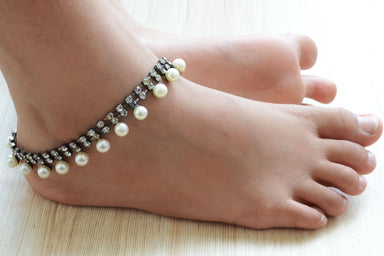 anklets Silver Bridal Anklet diamante pearl Infinity Ankle bracelet for barefoot beach wedding statement ankle chain women - by Pretty