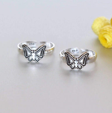 Rings Silver Butterfly Toe Band Free Size Ring Minimalist Gift Item Bohemian jewelry (TS104)