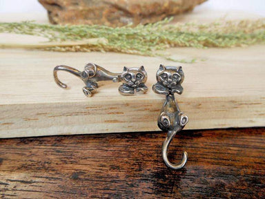 Earrings Silver Cat Ear Jackets Animal Lover Gifts For Her