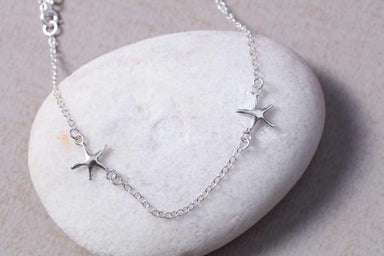 Anklets Silver chain starfish anklet Sterling silver Starfish charm foot (AS10)