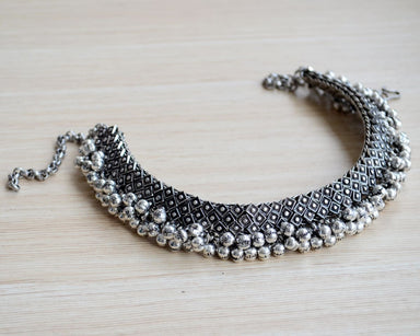 necklaces Silver Choker Necklace Antique Rajasthani Short Indian Ghungroo Neckpiece - by Pretty Ponytails