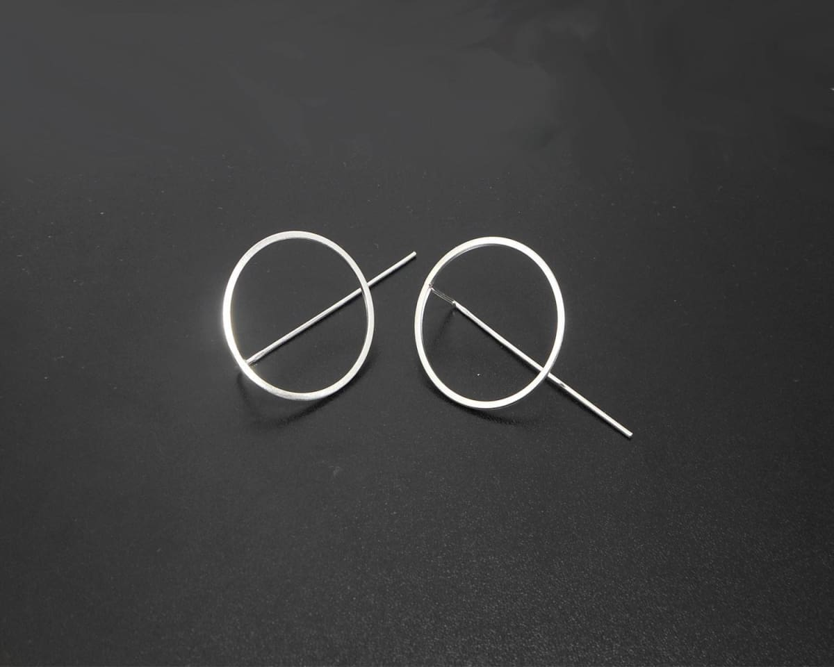 Earrings Silver Circle Threader Hook 925 Sterling Womens Gifts For Bridesmaids Holiday E524