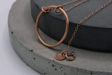 Necklaces Silver circle pendant minimalist necklace coated in rose gold