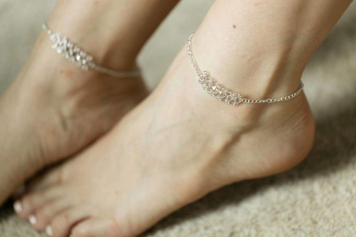 Anklets Silver clear crystal anklet Sterling silver charm Real Anklet (AS8)