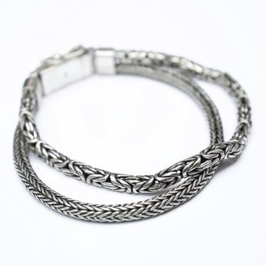 Bracelets Silver Dragon Chain and Borobudur Motif Bracelet Handmade Jewelry Gift for men - by Craftnez