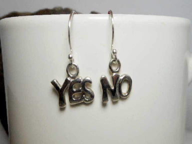 Earrings Silver Yes No Drop 925 Sterling Letter Dangle Womens
