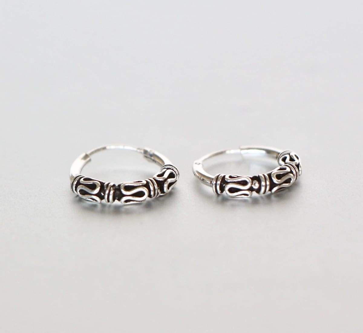 Earrings Silver Ear Hoops 14 mm Bali Oxidized Hoop Indi Style Bohemian Minimal Casual BohoChic (E43)